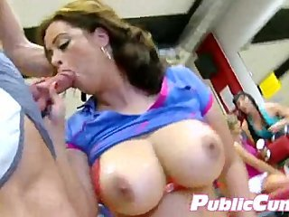 Busty Slut Working Out And Sucking Dick