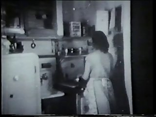 Vintage honey fuck by door to door salesman in kitchen