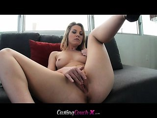 Gorgeous blonde opens up first time on camera