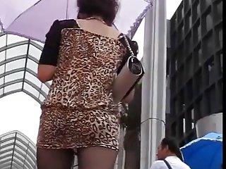 Sexy upskirt scene with slender brunette