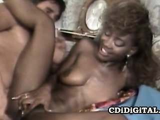 Cute ebony babe Sade gets her pussy nailed hard until she