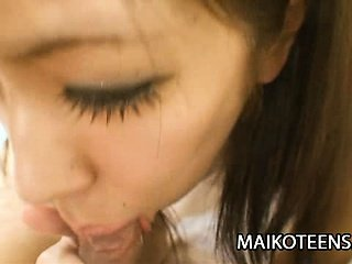 Japanese teen Harumi Matsuda's shaved pussy drips wet as