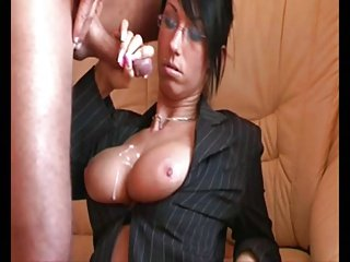 Woman Stroking A Load Onto Her Tits
