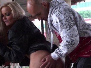 Beautiful blonde in PUBLIC sex orgy Part 2