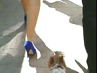 Candid #42 Woman with nice legs in blue high heels