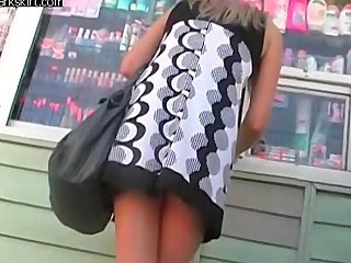 Black and white blode upskirt