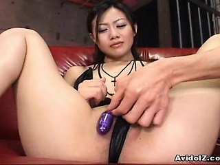 Randy Asian babe gets serious toy ramming!