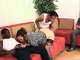 Wife fuck by two black dicks while he watches