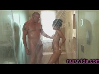 Cute asian Asa Akira shower massage