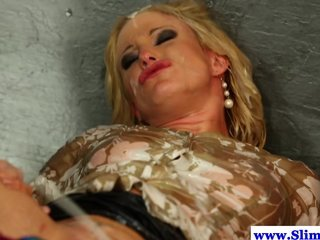 Cum soaked lesbian fisted at gloryhole
