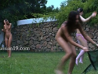 serbian chicks watersports in the garden