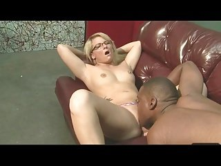 Cute Young Blonde with glasses gets fuck by black guy