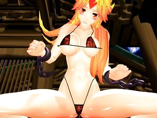 Busty horned catgirl bring cute.....and Invisible humpping