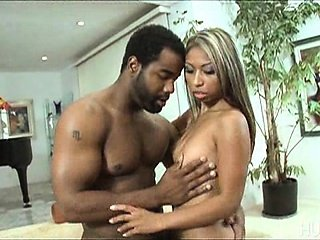 Asian babe gags on big black dick