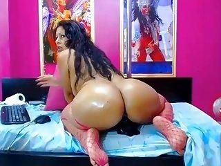 Webcam - Latina Hot lady with nice big ass riding dildo