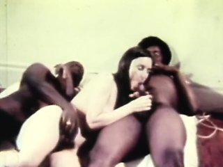 enchanting retro threesome fucking