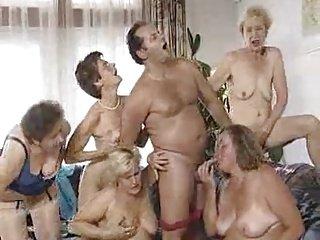 Five grannies and man