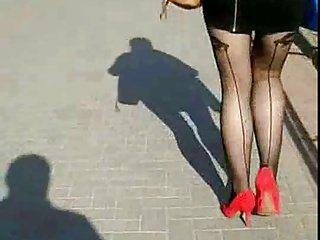 Candid #57 Girl with great legs in mini skirt and high heels