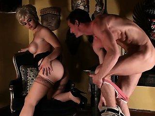 Sara Sloane nursing on dick in Psycho porn parody