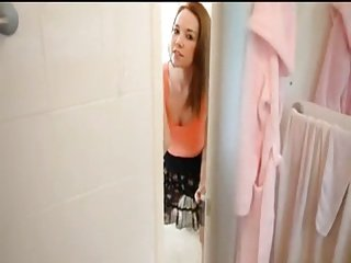 Step sister watches me in the shower