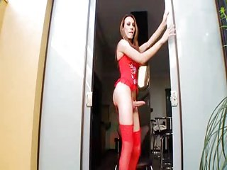 shemale wearing red lingerie