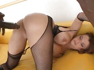 Sexy Hot lady in fishnets get her pussy drilled hard by Big black dick.