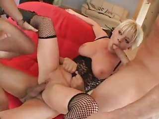 Busty Blonde Hot lady Taking Three Dicks In All Holes