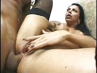 Rough interracial anal in stockings.