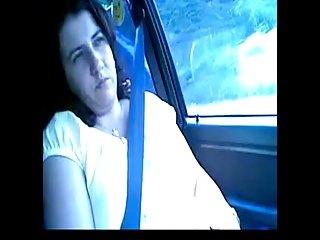 Wife masturbates to orgasm in the car