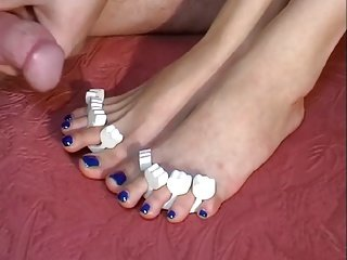 Amateur Footjob By Her Sexy Painted nails Feet