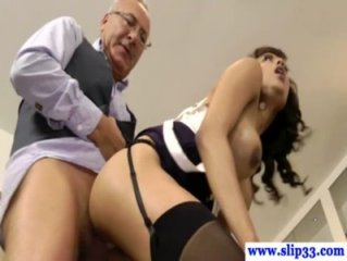 Young lingerie babe pleases old guy