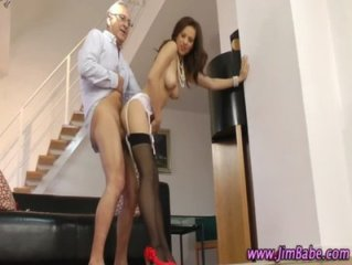 Amateur stockings hoe rides old guy