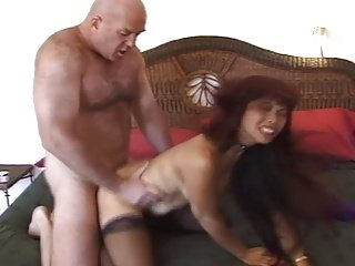 Slutty asian Hot lady Mimi fucks an ugly old bald guy