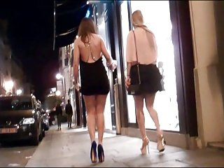 Two Girls in mini skirt and high heels