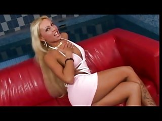 Nasty blonde with big tits anal fuck by soldier on red couch