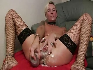 Slippery german dildo in ass