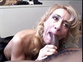 Attractive blonde hot lady fingers her cute ass blowing black dick
