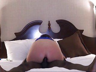 Interracial anal sex with wife cumming on black dick