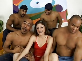 Gangbang of White Chick & 4 Black Dicks