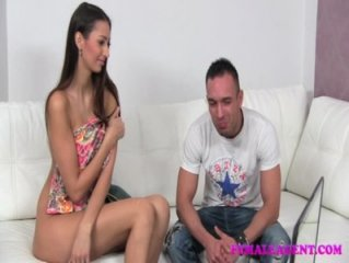 FemaleAgent Hot lady gets his wifes pussy wet for him on the casting couch