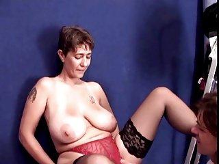 Unforgettable Brunette Shorhair-Milf with Huge-Boobs fuck