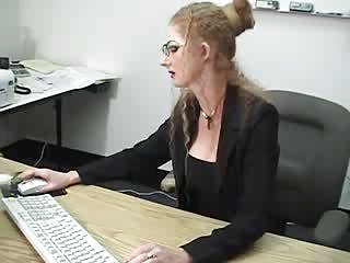 Sexy Blonde Hot lady squirts in the office
