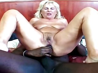 Hungarian GILF with herself and Big black dick