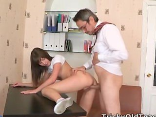 Nina's teacher plays with her breasts and Nina then kneels to lick his hard
