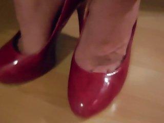 Cum on feet in red High Heels