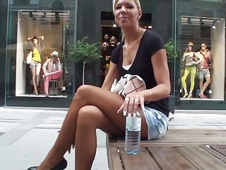 sexy babe on street with hig heels