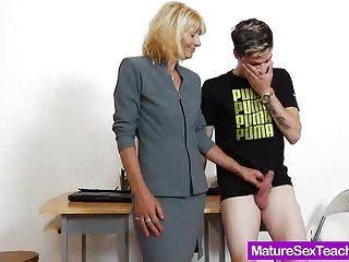 Mommy teacher playing plus a dick