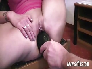 Mature wife double fisting and huge insertions