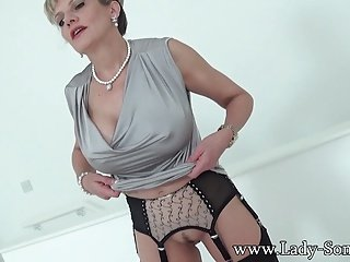 British Hot lady jerks strangers dick titfuck handjob