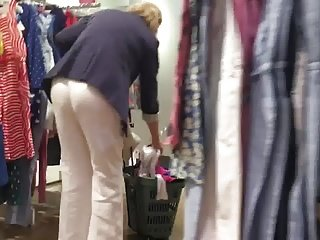 Granny in White Linen Trouser and Balck Thong